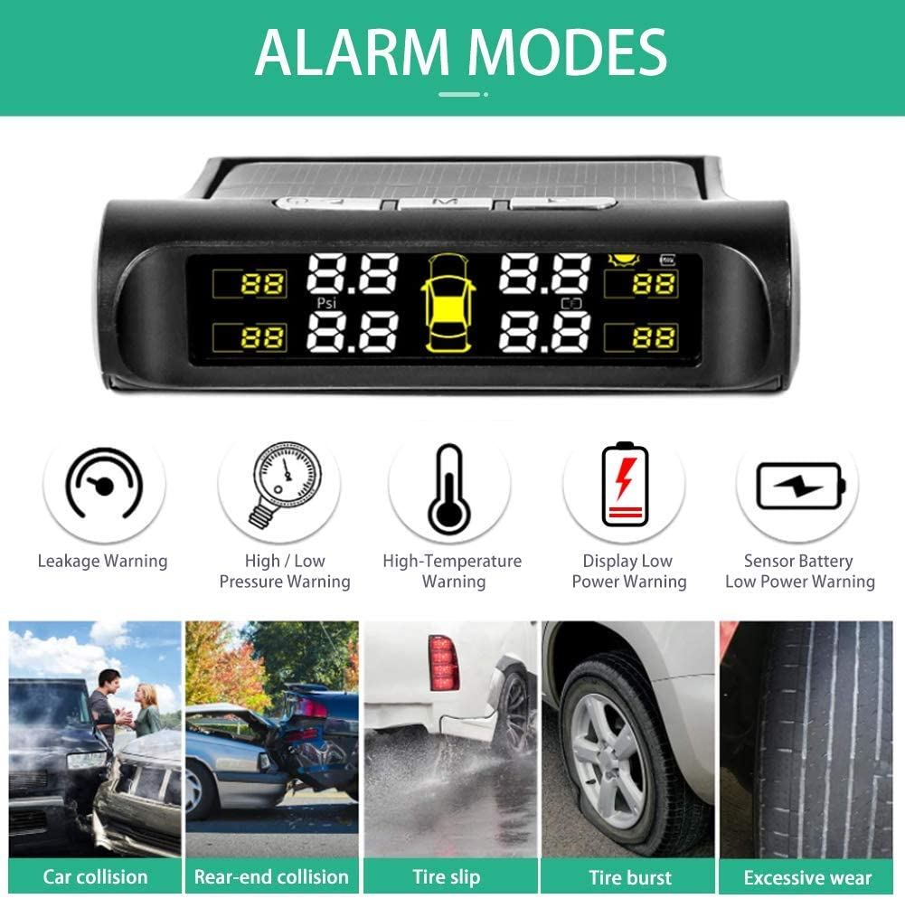 5 Alarm Modes Tire Pressure Monitoring System Solar Power Charge Mini TPMS with 4 Advanced External Tmps Sensor Simple Installation and Setup 0-0.6 Bar// 0-87 PSI