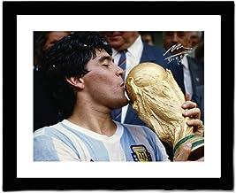 AWJK Diego Maradona Signed Printed Autograph Argentina Photo Display Reissue Version,Maradona Signature Photo Frame Gift,A3