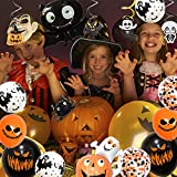Halloween Deko, 42 Stück Luftballons Halloween Horror Deko Set, inklusive Fledermaus, Spinne, Kürbis Deko, Happy Halloween Banner, für Garten Bar Wohnzimmer Horror Party - 7