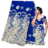 Nigerian Lace Fabrics African Lace Fabric 2019 Lace with Sequin Purple French Lace Fabric for Dress Latest Net Lace (Royal Blue)