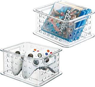 mDesign Plastic Stackable Household Storage Organizer Container Bin with Handles - for Media Consoles, Closets, Cabinets - Holds DVD's, Blu Ray, Video Games, Gaming Accessories - 2 Pack - Clear