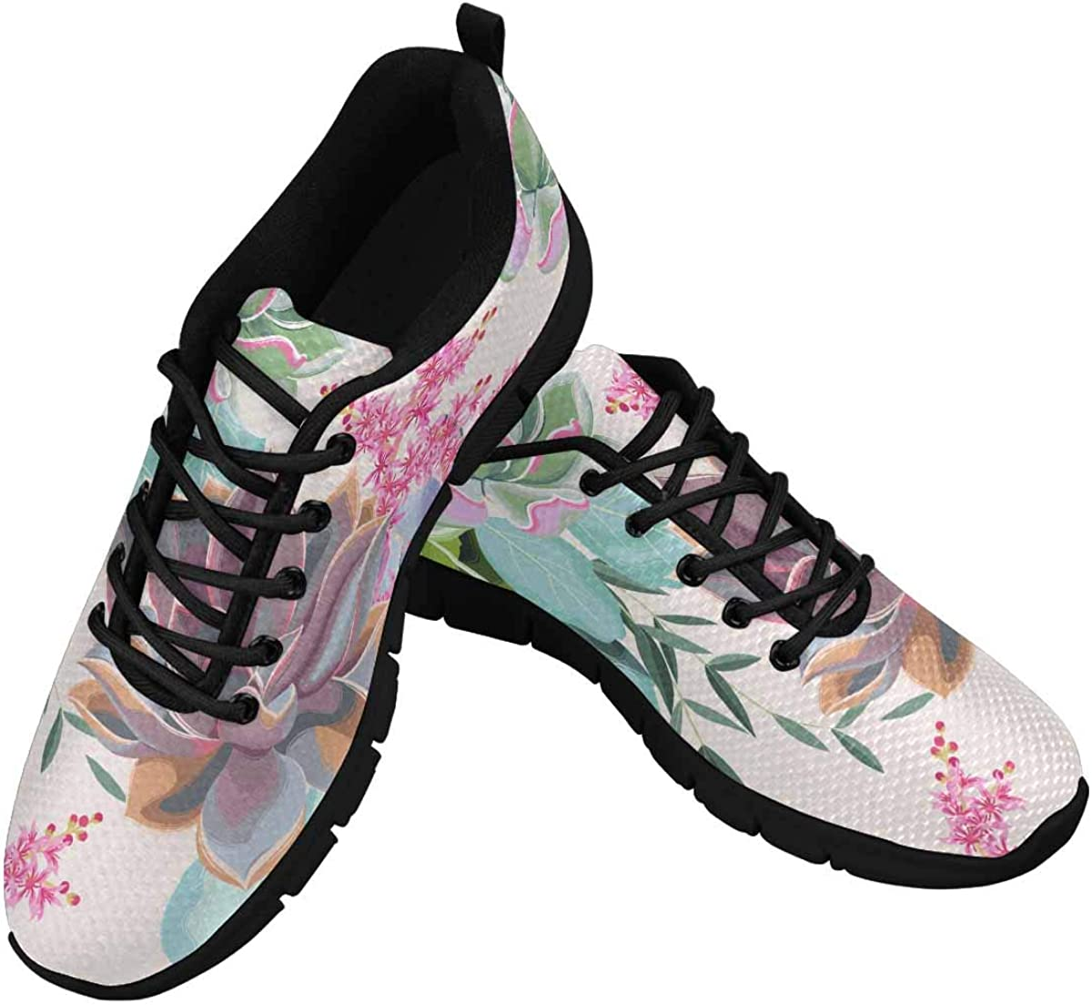 INTERESTPRINT Flowers and Succulents Women's Athletic Walking Shoes Casual Mesh Comfortable Work Sneakers