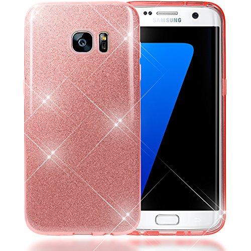 NALIA Custodia compatibile con Samsung Galaxy S7 Edge, Glitter Copertura in Silicone Protezione Sottile Cellulare, Slim Cover Case Protettiva Scintillio Telefono Bumper - Rosa Pink