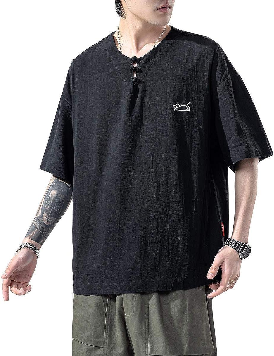 Seidarise Men's Henley Shirt Linen Shirts Regular-fit Short Sleeve Henley Tee