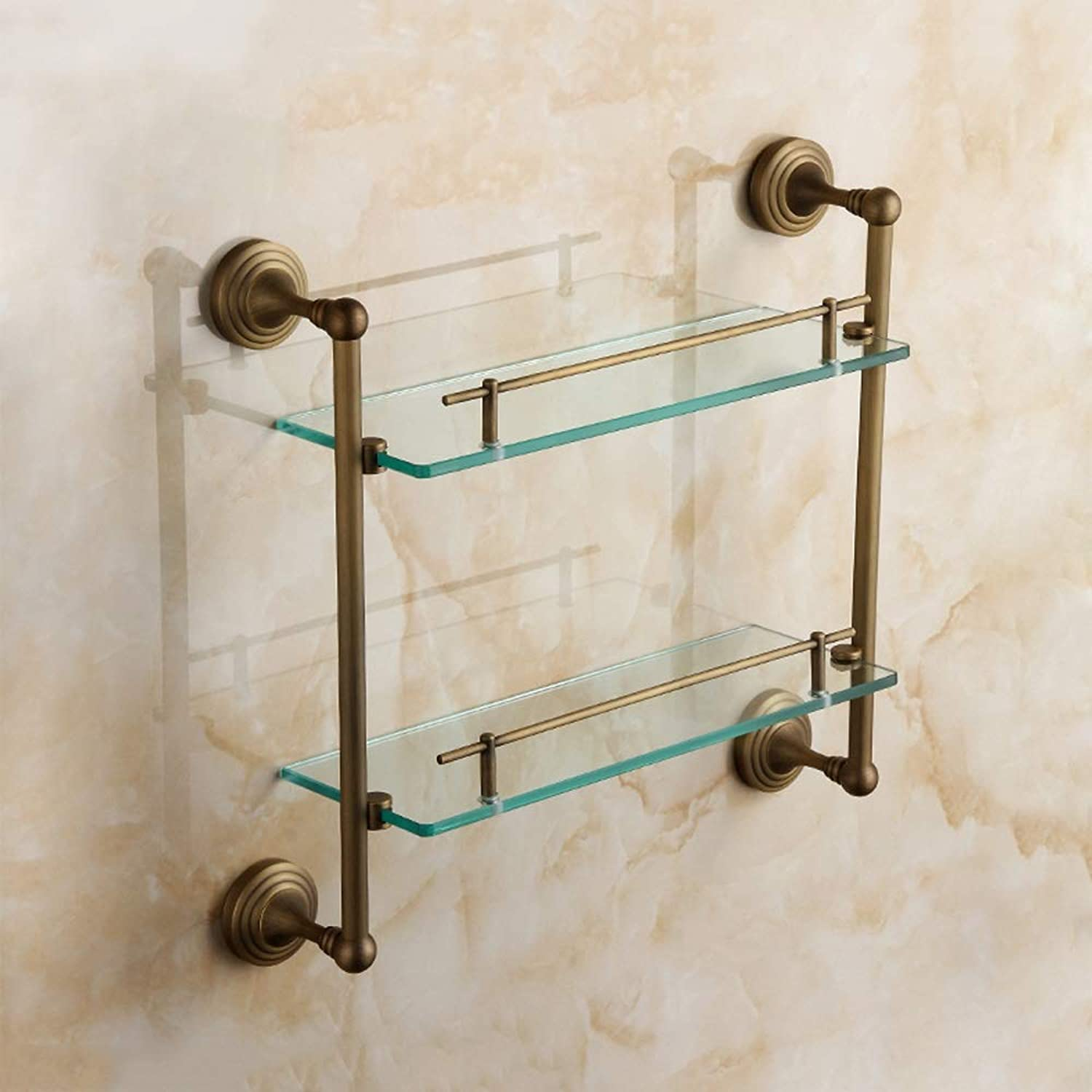 CHQW Trade Retro Bathroom Item Storage Rack Thickened Glass Partition Bathroom Hardware Pendant Copper Double Layer Shelf Heavy Wall-Mounted Glass Bracket Copper Wire Drawing