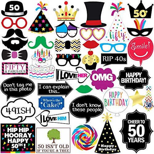 50th Birthday Photo Booth Party Props - 40 Pieces - Funny 50th Birthday Party Supplies, Decorations and Favors