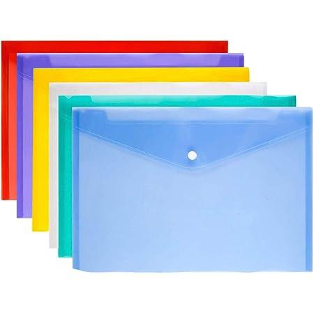 Lot de 6 pochettes en plastique A4 - 6 pochettes - 6 couleurs