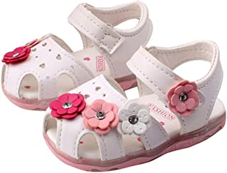 Toddler Flowers Girl Sandals Lighted Soft-Soled Baby Shoes Leather Dance