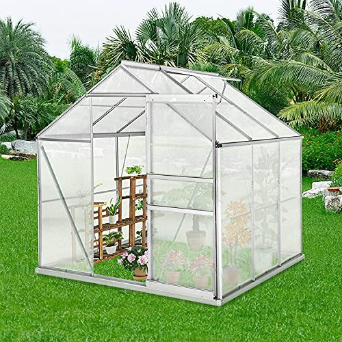 Outdoor Greenhouse, 6' x 6' x7' Garden Greenhouse w/Adjustable Roof Vent, Rain Gutter, Sliding Door, Walk-in Polycarbonate Greenhouse Kit with Aluminum Frame for Winter