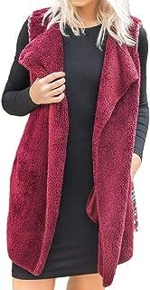 BODOAO Womens Winter Sleeveless Vest Coat Faux Fur Lapel Vest Patchwork Parka