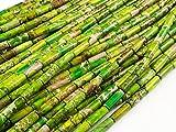 Beads Ok, Abalorios Cuentas Piedra Semipreciosa Jaspe Imperial Mmanzana Vert Teñido Cilindro 4x13mm ~40cm un Tira, Vendido por Tira. 4x13mm Cylinder Apple Green Color Imperial Jasper Gemstone Beads.