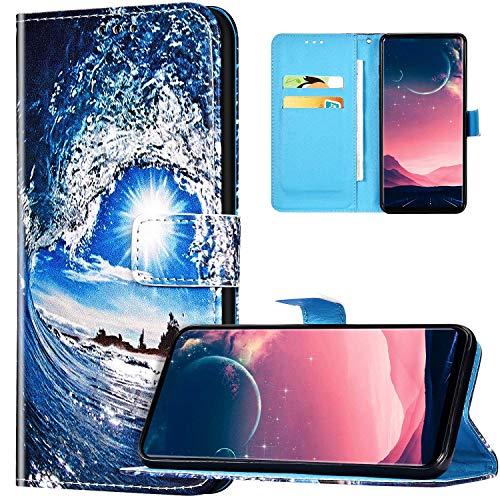 JAWSEU Coque Huawei Mate 30 Lite Portefeuille PU Cuir Étui pour Huawei Mate 30 Lite,Rétro Motif Livre à Rabat Coque Housse Protection Magnétique avec Support Wallet Flip Case,Vague de mer et soleil