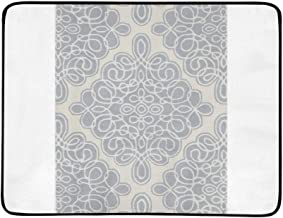 YSWPNA Candice Olson Hand Tufted White Cane Geometric Pat Pattern Portable and Foldable Blanket Mat 60x78 Inch Handy Mat for Camping Picnic Beach Indoor Outdoor Travel