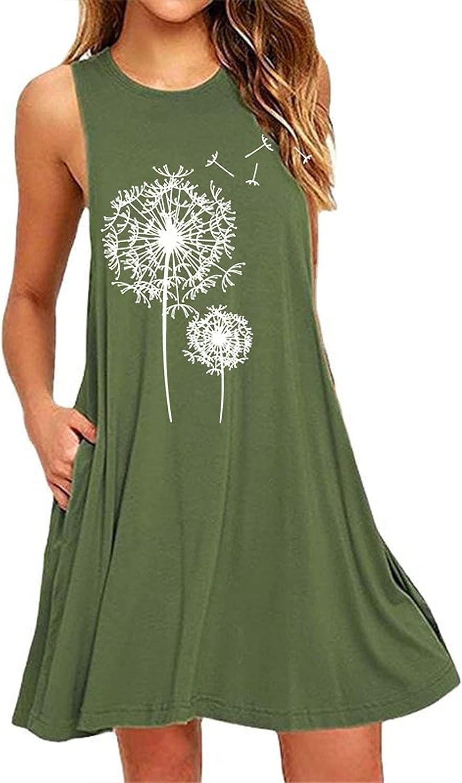 Summer Dresses for Women 2021 Knee Length Plus Size Sleeveless Sundresses Casual Beach Boho Floral Hem Loose Tank Dress