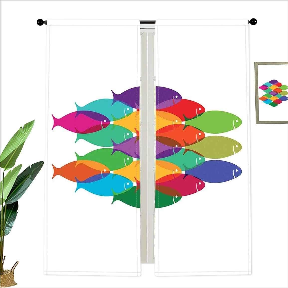 Blackout Curtains SoSung 海外 Nested Fish Shoal Tea Cluster Icon 本日の目玉 Deep