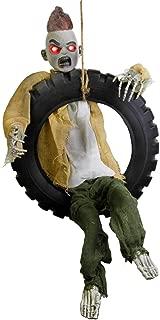 Halloween Haunters Animated 3 Foot Hanging Swinging Leg Kicking Zombie Boy Reaper in Tire Swing Prop Decoration - 16