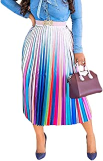 Womens Summer Tie Dye Floral Striped High Waisted Pleated A Line Midi Maxi Skirt