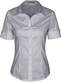 SUNNOW Womens Tailored Short Sleeve Basic Simple Button-Down Shirt Stretch
