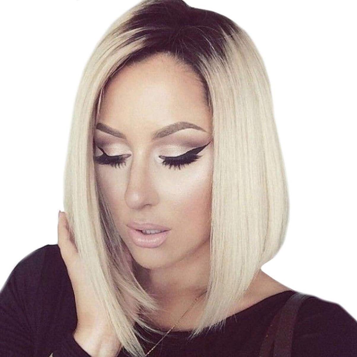 試みるフレアライナーSummerys 女性のためのミディアムロングストレートヘアショルダーグラデーションカラーウィッグヘッドギア
