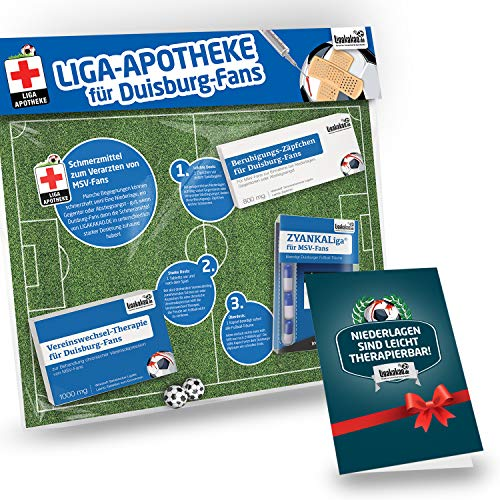 Geschenk-Set: Die Liga-Apotheke für MSV-Fans | 3X süße Schmerzmittel für Duisburg Fans | Die besten Fanartikel der Liga, Besser als Trikot, Home Away, Saison 18/19 Jersey