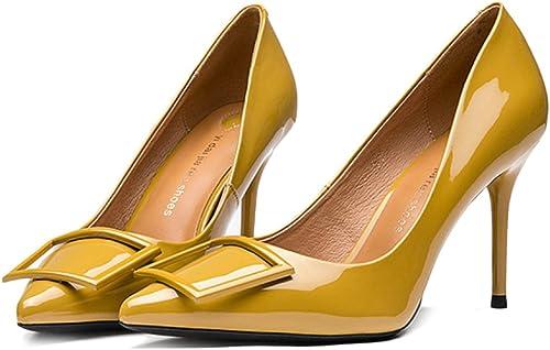 Frau SchwarzHigh Heels Mode Sexy Arbeit Gericht Schuhe Hochzeit Party Button,schwarz-8cm-EU 36 UK 4