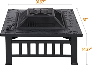 Yaheetech Multifunctional Fire Pit Table 31.97in Square Metal Firepit Stove Backyard Patio Garden Fireplace for Camping, Outd