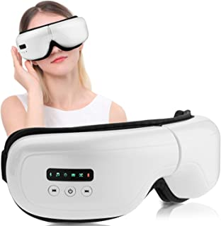 Rooftree-Air-Pressure-Eye-Massager with Heat, Rechargeable Vibration Bluetooth Music Eye Massager for Eye Relief, Air Press Point Massage Therapy for Eye Fatigue, Dry Eyes and Dark Circles