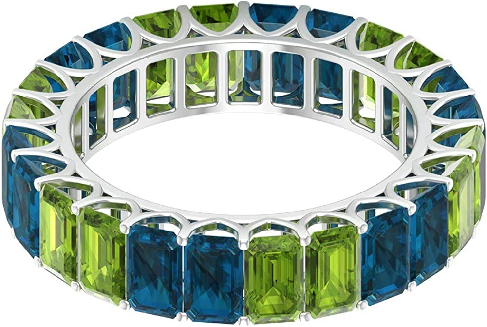 Solid Gold 9.00 CT Peridot Blue Topaz Eternity London Ring Anti Max 41% OFF quality assurance
