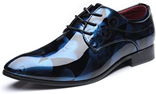 shangruiqi Men's Smooth Abstract Painting PU Leather Shoes Classic Lace Up Loafers Low Top Lined Formal Business Oxfords (Extra Large) Abrasion Resistant ( Color : Blue , Size : 40 EU )