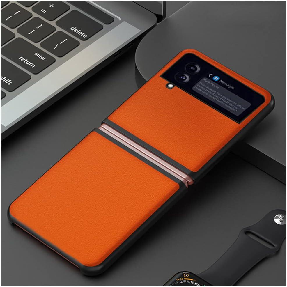 DOOTOO for Samsung Galaxy Z Flip 3 Case Ultra Thin Carbon Fiber Leather Hybrid PC Shockproof Protection Fold Cover Case for Samsung Galaxy Z Flip 3 5G 2021 (Orange)