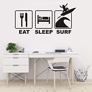 Surfing Sports Wall Decal Eat Sleep Surf Quotes Wall Art Stickers Kids Room Boys Bedroom Surfboard Wall Sticker Nursery Room Living Room W All Poster QQ400 (Black)