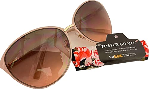 popular Foster Grant Women's Cat Eye lowest Oval Pink sale Sunglasses with Microfiber Pouch online sale