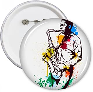 DIYthinker Watercolor Street Man Rock Music Painting Round Pins Badge Button Clothing Decoration 5pcs Gift M