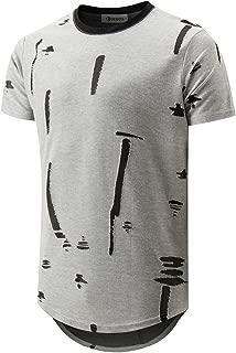 KLIEGOU Mens Hipster Hip Hop Round Hemline Hole T Shirt 1805