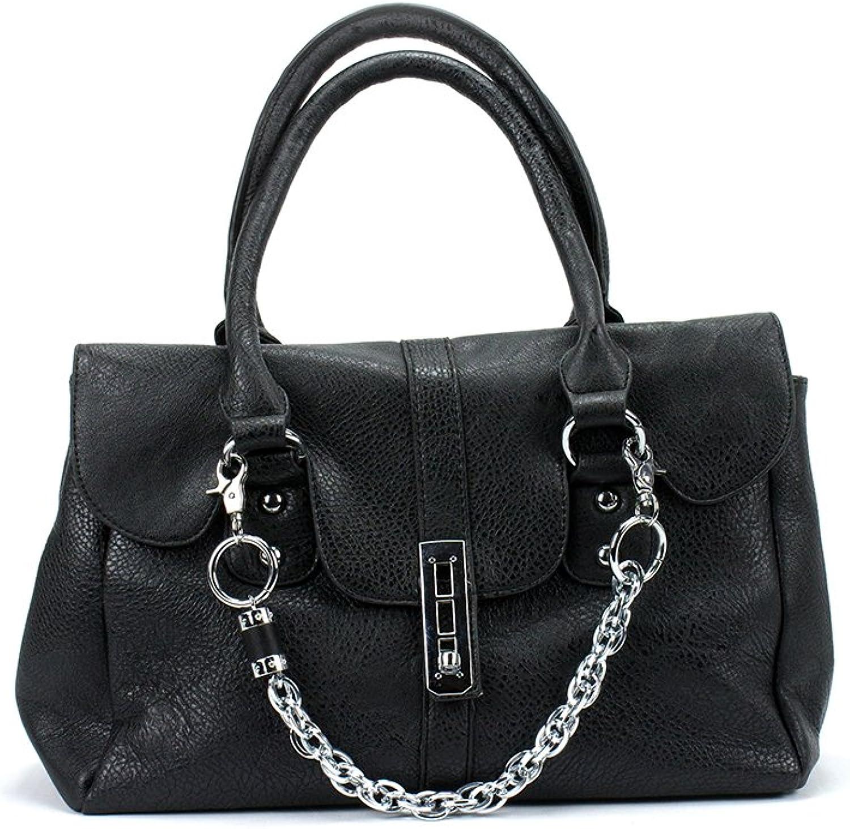 Newbee Fashion - Small Buckle Design Office Tote Fashion Handbag Satchel with Removeble Chain