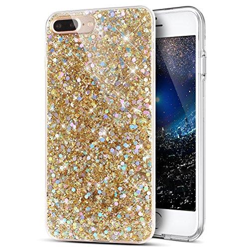 Kompatibel mit Hülle iPhone 8 Plus/7 Plus Hülle,Kristall Bling Glänzend Glitzer Kristall Strass Diamant TPU Silikon Hülle Handyhülle Crystal Glitzer Schutzhülle für iPhone 8 Plus/iPhone 7 Plus,Gold