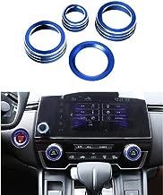 Thor-Ind 4pcs Aluminum Interior Console Trim for Honda CRV CR-V 2017 2018 2019 AC Air Conditioning Knob Start Stop Button Navigation Volume Knob Cover Trim (Blue)
