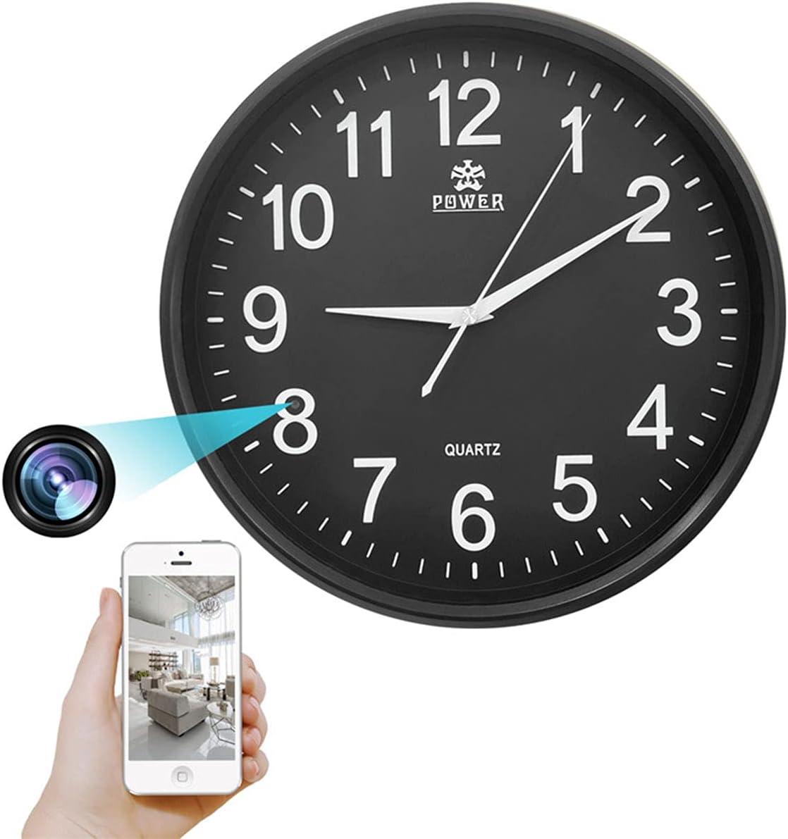 GEQWE Reloj De Pared con Cámara Espía WiFi, Cámara IP Oculta 1080P HD Spy DVR Visión Nocturna con Cámara De Niñera En Tiempo Real, Grabación En Bucle, Compatible con iOS/Android
