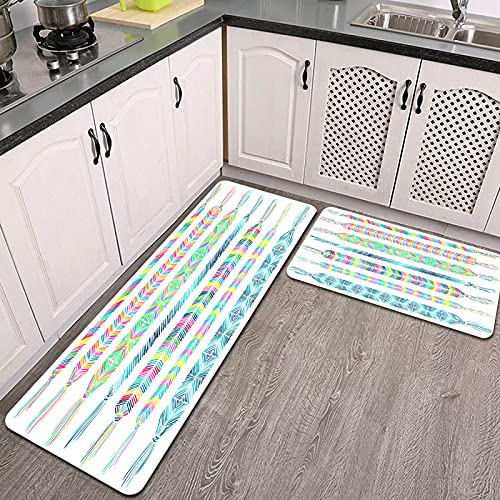 2 Piezas Alfombrillas de Cocina,Conjunto de Pulseras de Amistad Doodle Adorno de Chevron Antideslizante Alfombra para Puerta de Baño Juego de alfombras Cocina Lavables