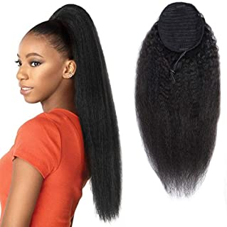 Drawstring Ponytail Extension Human Hair Afro Kinky Straight Ponytail for Black Women Yaki Human Hair Brazilian Virgin Hair Drawstring Ponytail Remy Hair Extensions 22 Inches