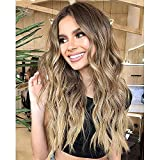 Nnzes Long Wavy Ombre Blonde Wig for Women Synthetic Ash Blonde Wig Wave Middle Part Natural Hair Heat Resistant Wigs for Daily Party Use 22 Inch