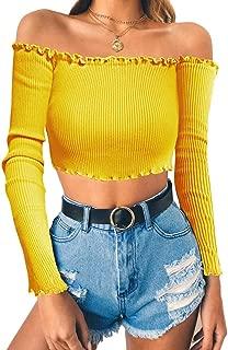 Women's Sexy Off Shoulder Crop Tops Long Sleeves Casual Slim Tees