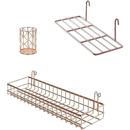 BULYZER Estantería de pared con ganchos, estante para libros, estante de exhibición para panel de rejilla de pared, organizador de montaje en pared y estante de almacenamiento para oficina (oro rosa)
