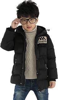 QCHENG Boys Kids Winter Parka Hooded Warm Down Coat Puffer Jacket for Big Boys Mid-Long Outwear