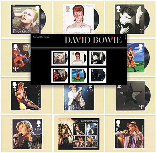 Set de regalo de 2017David Bowie sellos presentación unidades y tarjetas postales–Royal Mail