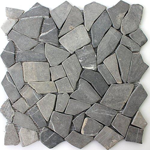 Naturstein Fliesen Marmor Bruch Nero | Wandfliesen | Mosaik-Fliesen | Bruch-Mosaik | Naturstein | Ideal für die Küche und Badezimmer