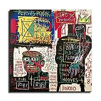 バスキア2020- ジャン・ミシェル・バスキアポスター、グラフィティアールヌーボーアートパネル絵画フォトフレーム印刷ダンフレーム印象派ヨーロッパ壁壁紙壁画美術-62 (30x30cm,額装)
