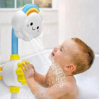 DELFINO Bath Toys For Toddlers Baby Bath Shower Toy Bath Spray Water Shower Toy Lovely Cloud Rainbow Water Squirt Shower F...