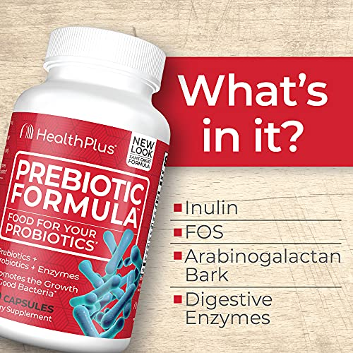 Health Plus Prebiotic Formula - Probiotics + Prebiotics + Digestive Enzymes - Gluten Free, Dairy Free, Natural Herbal Ingredients (180 Capsules, 60 Servings)