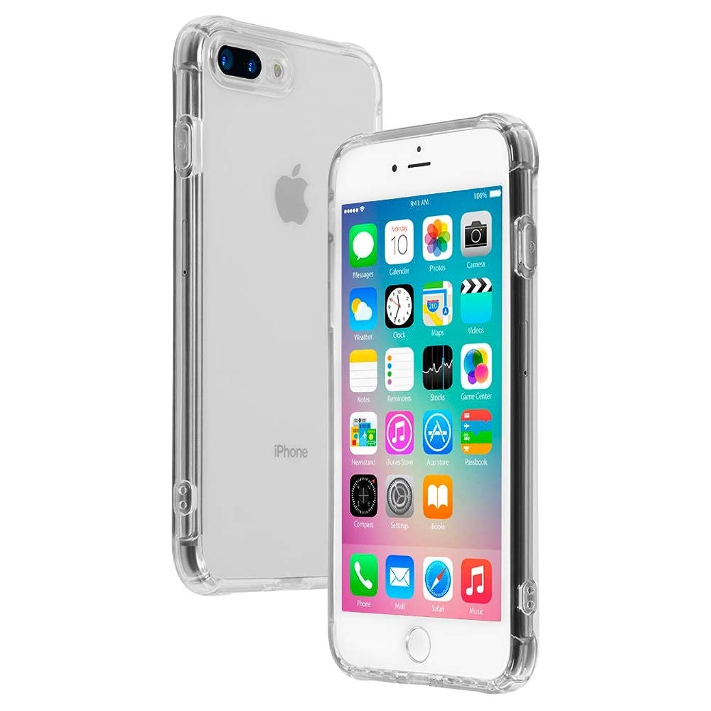 現実パン屋思いやりのある【21SPEC】 iPhone8Plus ケース [クリア シリコン 耐衝撃] [音声が前面から流れる] アイホン8プラスケース [ハード 衝撃吸収 ストラップホール付き] アイホン7プラス 透明 iPhone7Plus (iPhone7/8プラス,クリア)